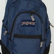 Jansport Large Backpack Blue Black 4 Zippers School College Camping Photo