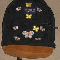 Jansport Leather Bottom Superbreak Backpack Black With Butterflies Photo