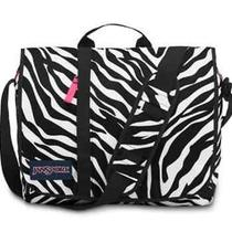 Jansport Market Street Messenger Bag  Black/white/fluorescent Pink Photo