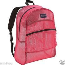 Jansport Mesh Backpack Majestic Pink Big See Through Student Pool Beach Bag New Photo