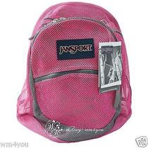 Jansport Mesh Backpack Spectrum Hot Pink Durable Big See Through Student Bag New Photo