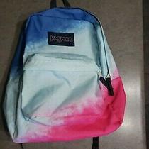 Jansport Multicolor Blue Pink Book Bag Student Backpack Adjustable Strap 12