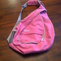 Jansport Over Shoulder Crossbody Pink Gray Backpack Biking 4 Pockets Photo