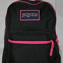 Jansport Overexposed Backpack - Black W/ Pink Zipper Accents Free Shipping Photo