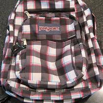 Jansport Pink Black Plaid Backpack Book Bag Photo