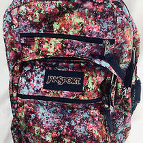 Jansport Pink Blue and Lime Green Multi Color Floral Backpack for Girls Women Photo