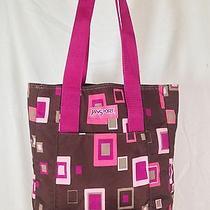 Jansport Pink & Brown Geometric Book Laptop Tote Bag Purse Photo