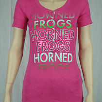 Jansport Pink Horned Frogs Fitted T Shirt Top Button Down v-Neck Womens M Medium Photo