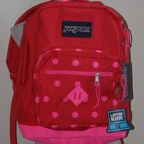 Jansport Red & Pink Polkadots  City Scout Backpack Book Bag New 65.00 T29azt8 Photo