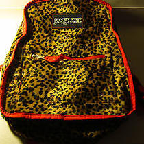 Jansport Reversible Red Leopard Faux Fur Canvas Bookbag Backpack Photo