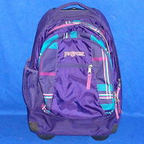 Jansport Rolling Wheeled School Luggage Computer Purple Backpack Model Tn89 Photo