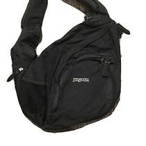 Jansport Sling One Strap Backpack Black / Gray Side Pocket Zippers Airlift Euc Photo