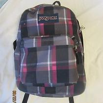 Jansport Student Backpack Gray Fusha Black Plaid Photo