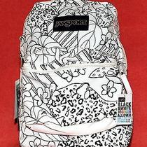 Jansport Super G Kids Child's Backpack Black & White Jungle Color Me New W/ Tags Photo