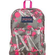 Jansport Superbreak Backpack Fluorescent Pink Super Splash School Book Bag Photo
