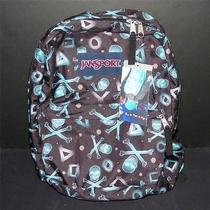 Jansport Superbreak Backpack Glowing Skulls & Crossbones Black/blinded Blue 1550 Photo