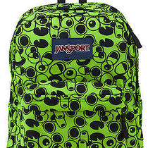 Jansport Superbreak Backpack  Green & Black  Patterned  School College Photo