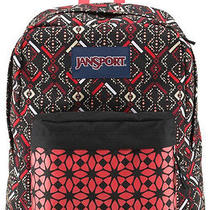 Jansport Superbreak Backpack  Pretty  Coral Dusk Tribal Mosaic School College Photo
