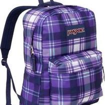 Jansport Superbreak Backpack Purple Night Preston Plaid School College Book Bag Photo