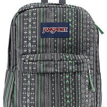 Jansport Superbreak Backpack  Seafoam Green & Gray  Pattern  School College Photo