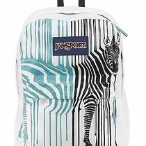 Jansport Superbreak  Bayside Blue Interuped Zebra Backpack School Book Bag  Photo