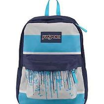 Jansport Superbreak Mammoth Blue Drip Stripe Backpack School Book Bag  Photo