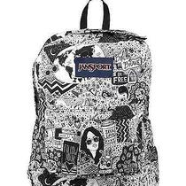 Jansport Superbreak Super Break Black White Free Spirit Backpack Book Bag  Photo