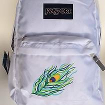 Jansport Superbreak White Backpack With Hand Painted Peacock Feather Photo