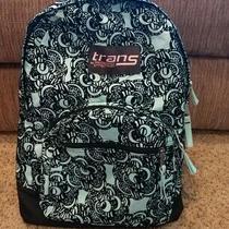 Jansport Trans Backpack Green Black Floral Multi Pocket Adjustable Straps  Photo