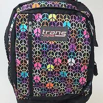 Jansport Trans Backpack Large Carry on Hiking Multi-Color Peace Signs Laptop Bag Photo