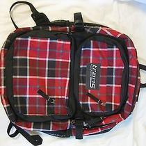 Jansport Trans Backpack Red Black Plaid Book Bag Photo