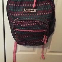 Jansport Trans Gray With Multi-Color Polka Dots Backpack Pre-Owned Photo
