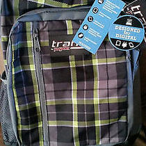 Jansport Trans Laptop Tablet Backpack Megahertz Ii Green Plaid T30b9yc Brand New Photo
