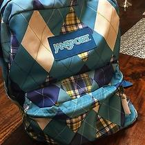 Jansport Turquoise White Plaid Argyle Patchwork School College Campus Backpack Photo