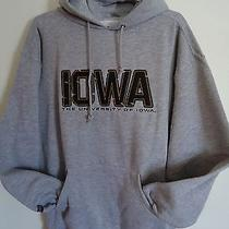 Jansport University of Iowa Mens Large Gray Logo College Hooded Sweatshirt Photo