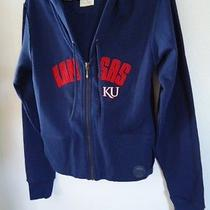Jansport University of Kansas Logo Sweatshirt Hood Zip Blue Juniors Fit Medium Photo