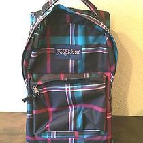 Jansport Wheeled Superbreak Rolling Backpack Multi-Colored Blue Pink Black Plaid Photo