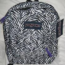Jansport Zebra Black Wht Animal Print Superbreak School Backpack Book Bag  Photo
