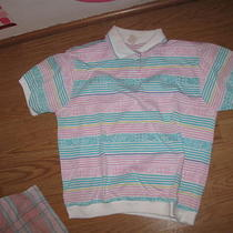Jantzen White Pink Aqua Purple Stripe Collared v Neck Ss Stretch Knit Top S Photo