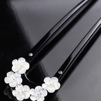 Japanese Hair Pin Kanzashi Natural Mother of Pearl Flower Swarovski Kimono Japan Photo