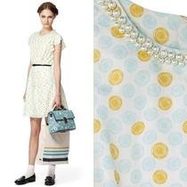 Jason Wu Dress Target Cream Yellow Aqua Blue Cycle Print Pearl Necklace Nwt M 8 Photo
