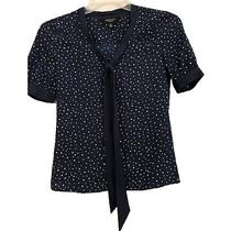 Jason Wu for Target Womens Size Xs Blue Polka Dot Short Sleeve Scarf Neck Blouse Photo