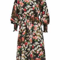 Jay Godfrey Women's Dress Black Size 6 Shirt Puff Sleeve Floral Print 382- 242 Photo