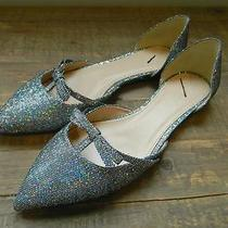 Jcrew 148 Sloane Glitter d'orsay Flats Mini Bow Shoes 9.5 Black Silver E4476 Photo