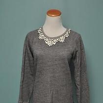 Jcrew Bib Necklace Sweatshirt Gray Xs 98 Photo