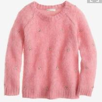 Jcrew Crewcuts Girls Blush Peach Coral Jeweled Cluster Beaded Sweater Retail 69 Photo