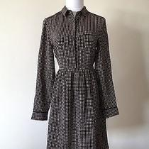 Jcrew Madewell Silk Cinema Dress in Mini-Houndstooth Black 10 Nwt 165 Large Med Photo