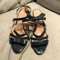 Jcrew Navy Patent Strapped Wedge Heels Sz 8.5 Photo