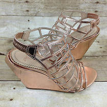 Jean-Michael Cazabat Pia Wedge Sandal Rose Gold Womens Size 9.5 Photo