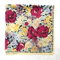 Jean Paul Gaultier Cotton Bandana Flower Spring Handkerchief Monogram Border 18